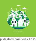 Flat geometric buildings, Eco city landscape. 54471735