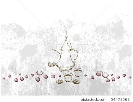 Hand Drawn of Arabic Coffee with Sandwich 54472368