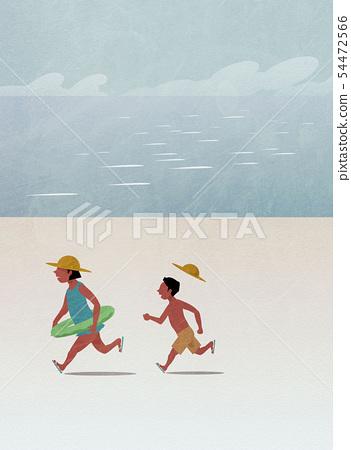 兄弟在沙灘上跑步 54472566