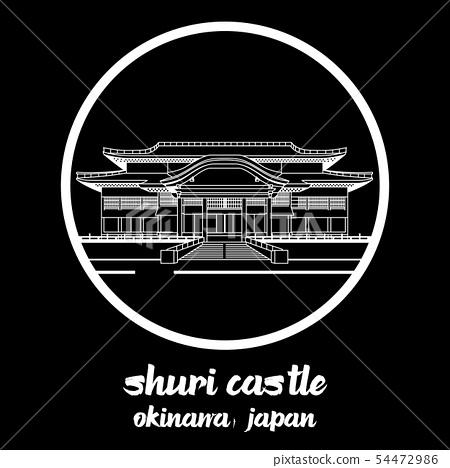 Circle Icon shuri castle. vector illustration 54472986