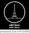 Circle Icon eifel tower. vector illustration. eps 54472989