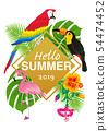 """熱帶鳥類和植物框架 - 字母""""Hello SUMMER""""A4比例白色背面 54474452"""