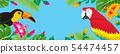 열대 조류 및 식물의 프레임 - 복사 공간가 가로 파란색 배경 54474457