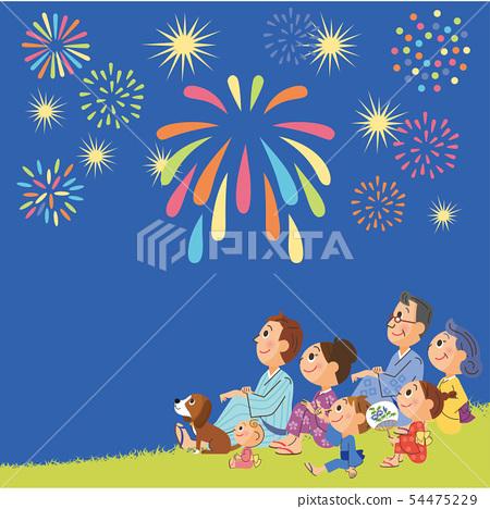 밤 불꽃 놀이와 세 가족 54475229