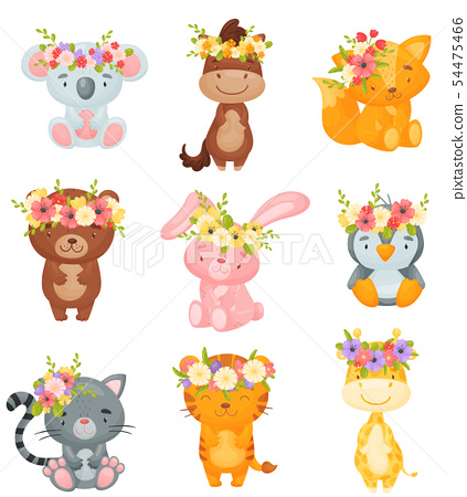 Set of cute animals with wreaths of flowers on their heads. Vector illustration on white background. 54475466