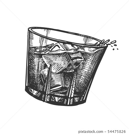 Design Glass With Whisky And Ice Cubes Vector 54475826