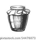 Designed Homemade Jam Glass Bottle Closeup Vector 54476073
