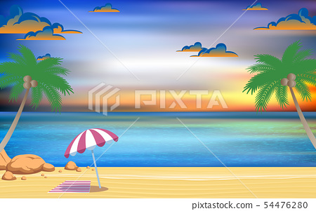 umbrella on the beach with landscape of sea in sun 54476280