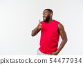 Young african american man over isolated background wearing sport wear smiling with happy face 54477934