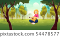 Woman playing guitar in city park vector 54478577