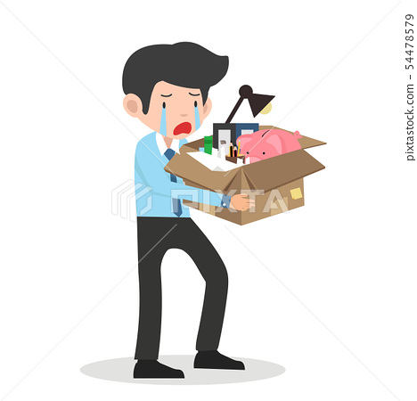 Sad businessman with a box in hands leaves work 54478579