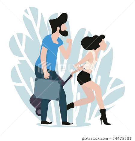 Couple traveling together flat cartoon style 54478581