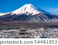 <Yamanashi Prefecture> Mt. Fuji, a snowy Fuji yoshida cityscape 54481953