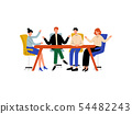 Business People Sitting at Desk and Discussing Project, Brainstorming, Colleagues Working Together 54482243