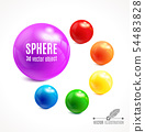3d Sphere vector object in multicolor set 54483828