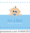 its a boy welcome greeting card for childbirth with baby face 54484393