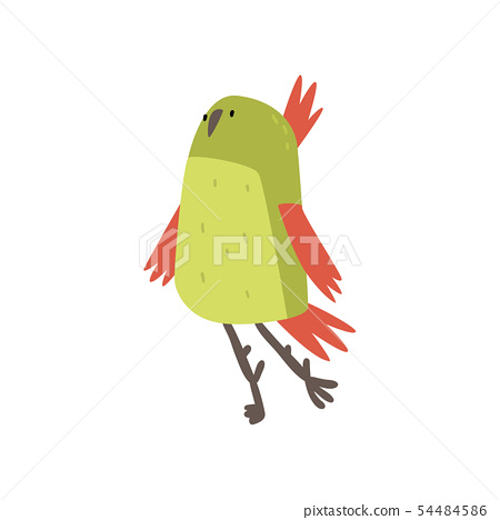 Cute Cheerful Bird, Funny Birdie Cartoon Character with Bright Green Feathers Vector Illustration 54484586