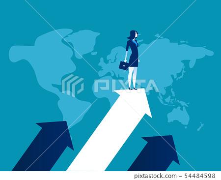 Upward. Businessman standing the arrow. Concept 54484598