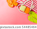 Summer bag background with copy space. Flat lay 54485464
