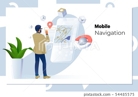 Man using navigation app on the mobile phone.business, technology, navigation, location and people 54485575