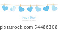 its a boy welcome greeting card for childbirth with hanging hearts 54486308