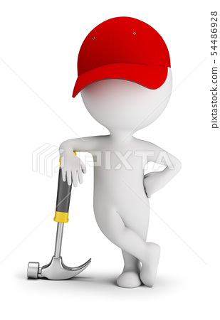 3d small people - repairman leaned on a hammer 54486928