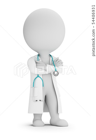 3d small people - doctor with stethoscope 54486931