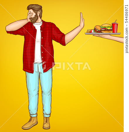 Fatty man rejecting fast food cartoon vector 54486971