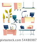Office furniture and equipment cartoon vector set 54486987
