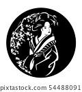 geisha among sakura blossom black vector design 54488091