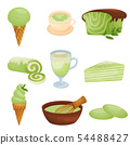 Set of various desserts from kiwi. Vector illustration on white background. 54488427