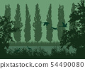 Realistic landscape illustration with wetlands and 54490080