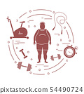 Fat man and different sports equipment 54490724