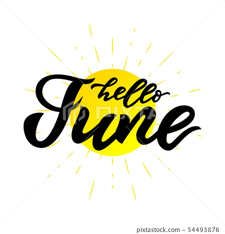 hello June, July handwritten lettering on white 54493876
