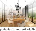 sketch design of interior dining ,3d rendering 54494109