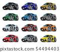 Cartoon sport car set isolated on white 54494403