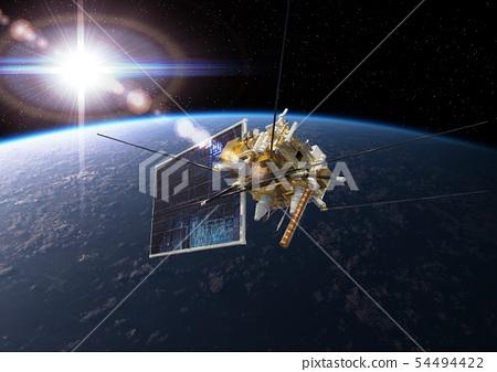 Modern meteorological satellite at the Earth orbit 54494422