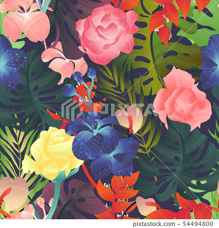 Seamless pattern, rose, Heliconia, Anthurium 54494800