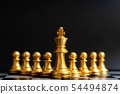 Gold king chess piece stand in front of pawn 54494874