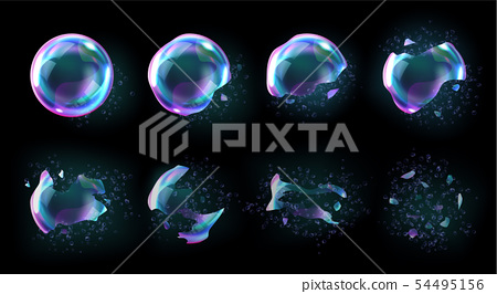 Bursting soap rainbow bubbles with reflections 54495156