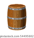 Barrel wooden with metal stripes, for alcohol, wine, rum, beer and other beverages, or treasures 54495602