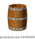 Open barrel wooden with metal stripes, for alcohol, wine, rum, beer and other beverages, or 54495609