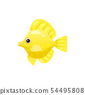 Tropical exotic Butteflyfish, bright colorful coloring, vector isolated on white background, cartoon 54495808