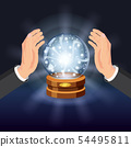 Magic crystal ball fortune, open hands, mistery, shining, magic, predictions, sphere, light effects 54495811