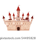 Princess Castle is a fairy tale architecture of the Middle Ages Europe, residence. Vector 54495828