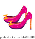 Princess pink shoes are fabulous with golden bows, fashionable and glamorous, fairy tale, myth 54495880