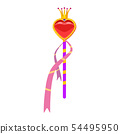 Magic wand. Magic accessory in the shape of a heart, decorated with diamonds, a crown, precious 54495950