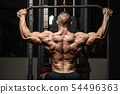 strong athletic men pumping up back muscles 54496363