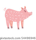 Cute pig, pig, animal, trend, cartoon style, vector, illustration, isolated on white background 54496946