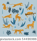 Set of leopards in various poses, plants, flowers, exotic, graphic cute trend style, mammal predator 54496986